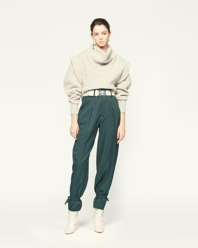 羊毛阔腿裤 脚踝可脱卸抽绳  侧面口袋 模特所佩腰带需单独购买  模特身高 177 cm,身穿法国尺码 38